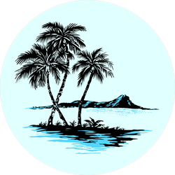 Sea Island With Palm Trees Sticker