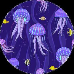 Sea Jellyfish On Dark Purple Background Pattern Sticker