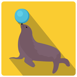 Sea Lion With A Ball, Circus Icon In Yellow Sticker