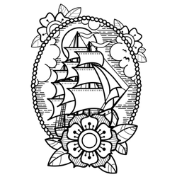 Sea Ship With Flowers Traditional Tattoo Sticker