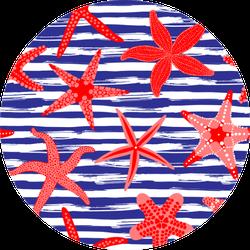 Sea Stars Seamless Pattern On Stripes Sticker