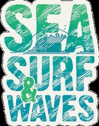 Sea, Surf & Surf Typography Sticker