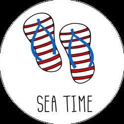 Sea Time Flip Flops Sticker