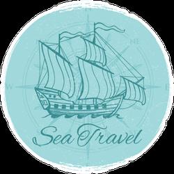 Sea Travel Grunge Boat Banner Sticker