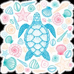 Sea Turtle And Shells Line Art Sticker