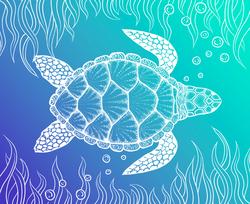 Sea Turtle In Line Art Sticker