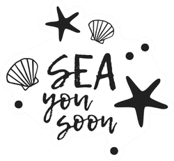 Sea You Soon Starfish Text Sticker