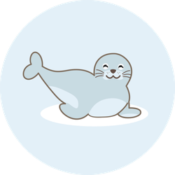 Seal Animal Cartoon Character Light Blue Sticker