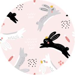 Seamless Childish Pattern With Jumping Rabbits Sticker