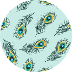 Seamless Hand Drawn Peacock Feathers Pattern Blue Sticker