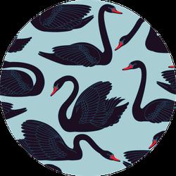 Seamless Hand Painted Black Swans Pattern Sticker