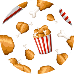 Seamless Pattern Fried Chicken In Strip Bucket Sticker