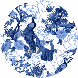 Seamless Pattern In Chinoiserie Style With Peacock Sticker