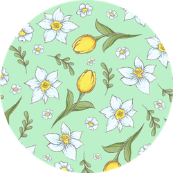 Seamless Pattern Of Daffodils Tulips Sticker
