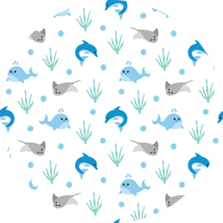 Seamless Pattern Of Whales, Stingrays And Dolphins Sticker