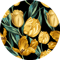 Seamless Pattern Of Yellow Tulips On A Black Background Sticker