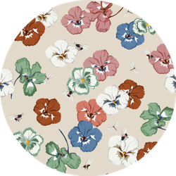 Seamless Pattern Sweet Pansy Flower Sticker