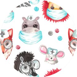 Seamless Pattern Watercolor Animal Hippo Illustration Sticker