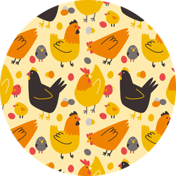 Seamless Pattern With Colored Hens, Chickens Sticker