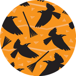 Seamless Pattern With Crows And Witches Broom Sticker