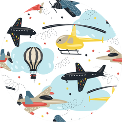 Seamless Pattern With Cute Air Transport Airplane Sticker