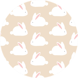 Seamless Pattern With Cute White Rabbits Sticker
