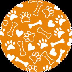 Seamless Pattern With Dog Paw Print Orange Sticker