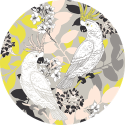 Seamless Pattern With Funny Cockatoo On Yellow Sticker