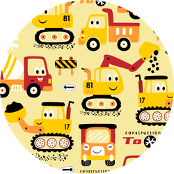 Seamless Pattern With Funny Construction Tractors Sticker