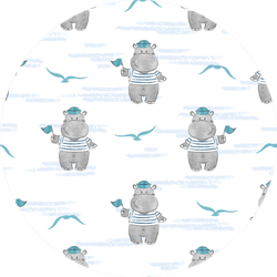Seamless Pattern With Hippo Sailor Sticker