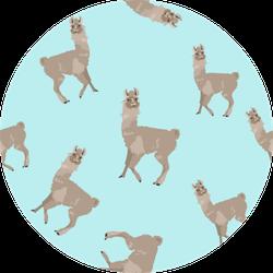 Seamless Pattern With Llama Animal Sticker