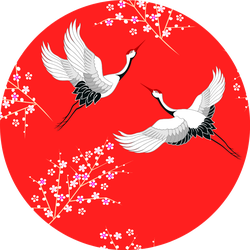 Seamless Pattern With Oriental Cranes Flying On Red Sticker