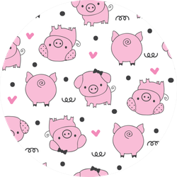 Seamless Pattern With Pig Sticker