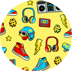 Seamless Pattern With Skateboard Sticker