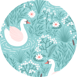 Seamless Pattern With Swan And Floral Elements On Blue Sticker