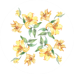 Seamless Pattern With Yellow Lily Flowers Watercolor Sticker