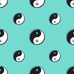 Seamless Pattern With Ying Yang On A Blue Background Sticker