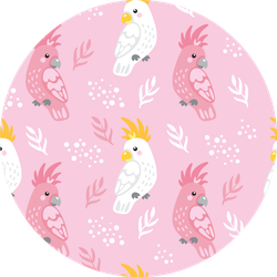 Seamless Pink Pattern With Cockatoos Sticker