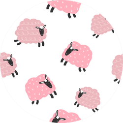 Seamless Repeating Pattern With Cute  Pink Lambs Sticker