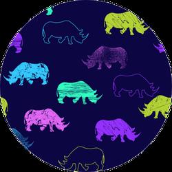 Seamless Rhinoceros Pattern Sticker