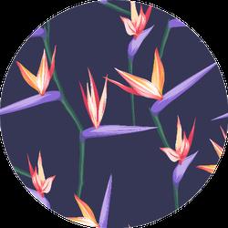Seamless Tropical Bird Of Paradise Plant Pattern Purple Sticker