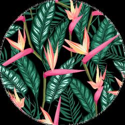 Seamless Tropical Bird Of Paradise Plant Pattern Sticker