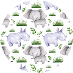 Seamless Watercolor Rhino Pattern Sticker