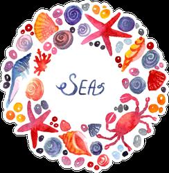 Seashell Frame Sea Text Sticker