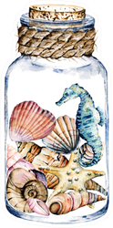 Seashells and Seahorse In Glass Jar, Marine Scenery Sticker