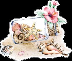 Seashells In Glass Jar Marine Scenery Watercolor Flower Sticker