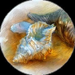 Seashells On The Beach Artwork In Watercolor Sticker