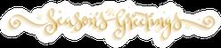 Season's Greetings Metallic Gold Calligraphy Snowflakes Sticker