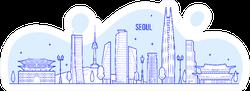 Seoul Skyline, South Korea Illustration Sticker