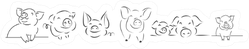 Set-drawing Of Cute Pig Sticker
